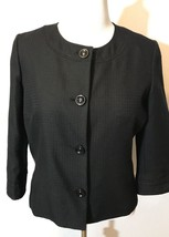 Women's Black Dress Jacket Blazer Covington Large Buttons 3/4 Sleeves - $14.77