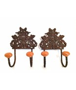 Two Cast Metal Ornate Wall Mount Hooks Hangers Ceramic Knobs 6.75 inches - $36.62