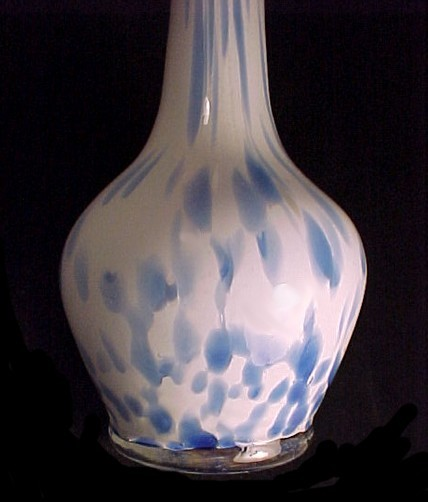 Blue & White Cased Blown Art Glass 12 in Bud Vase 1950s