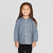 OshKosh B'gosh Toddler Girls' Long Sleeve Glitter Chambray Button-Down Shirt 12M - $9.89