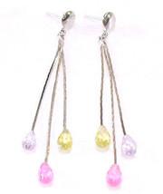 Femmes Plaqué or Blanc swarovski Element Longues Boucles D'Oreilles Pend... - $11.11