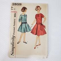 Vintage 50s Simplicity 2859 Girls Pattern Size 12 Day Dress Drop Waist U... - $14.81