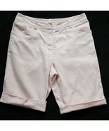 Women's Bermuda Jones New York Sport Shorts, Cotton Pinstriped, Pink/Whi... - $11.88