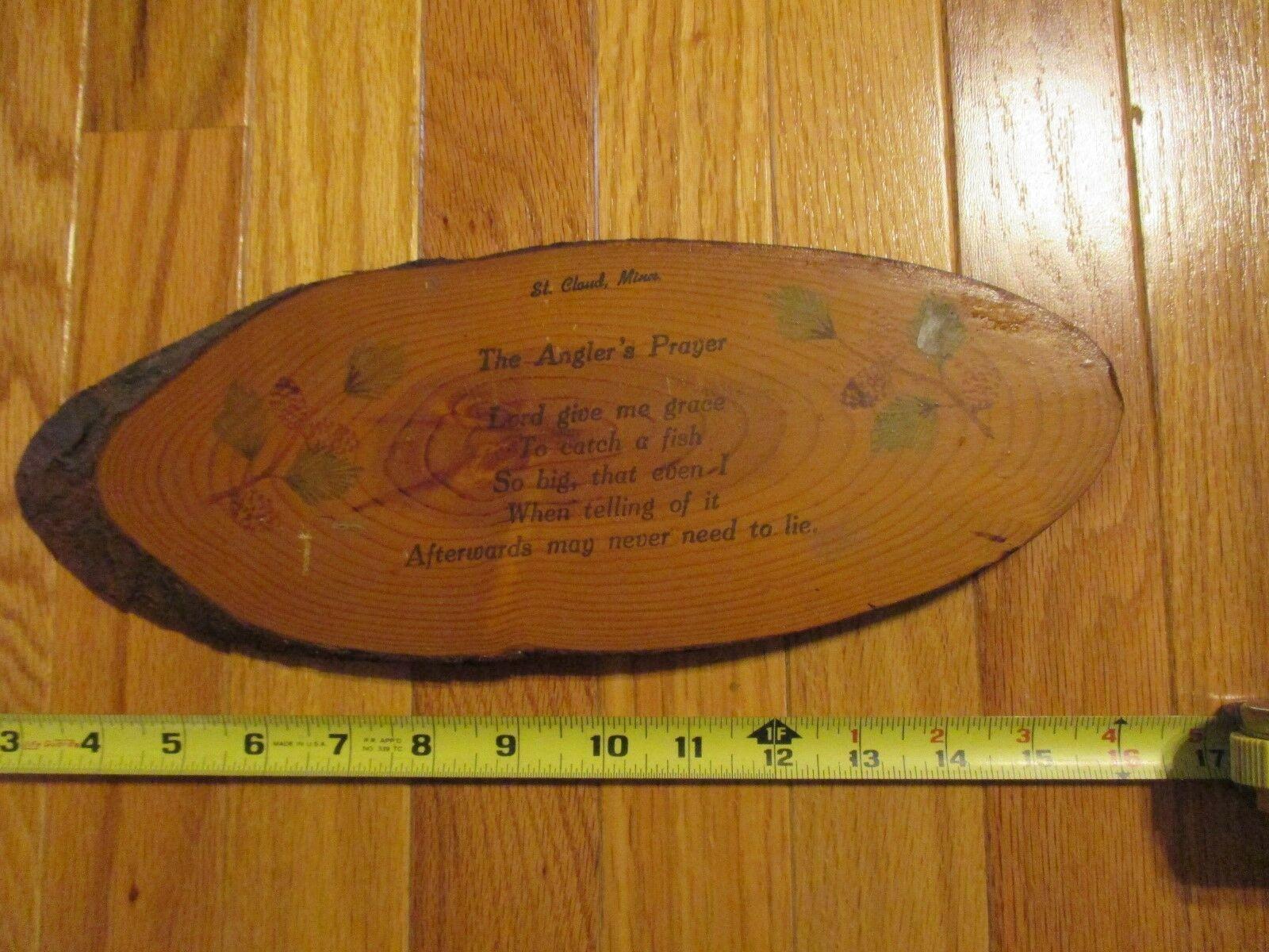 St Cloud Minnesota MN The Anglers Prayer Souvenir piece Wood