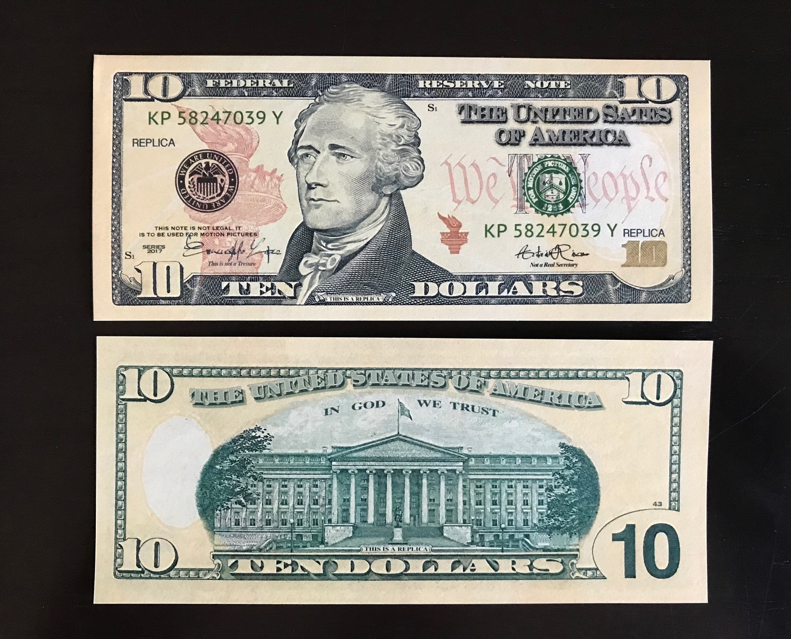 1.000 PROP MONEY REPLICA 10s All Full Print For Movie Video Films etc. image 3