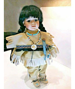 Black Haired Female Doll Indian Folk Art With Stand still has tags - $0.98
