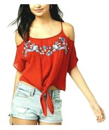 Polly & Esther Juniors' Red Embroidered Cold-Shoulder Tie Top Blouse Siz... - $9.79