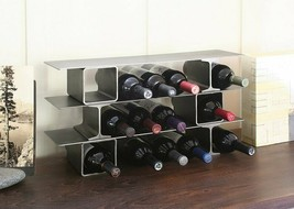 Wine Rack Steel Recycled Stainless Home Bottle Bottles Storage Modern In... - $386.04