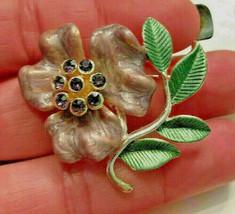 Vintage Purple Enamel Rhinestone Flower Brooch Pin - $9.89