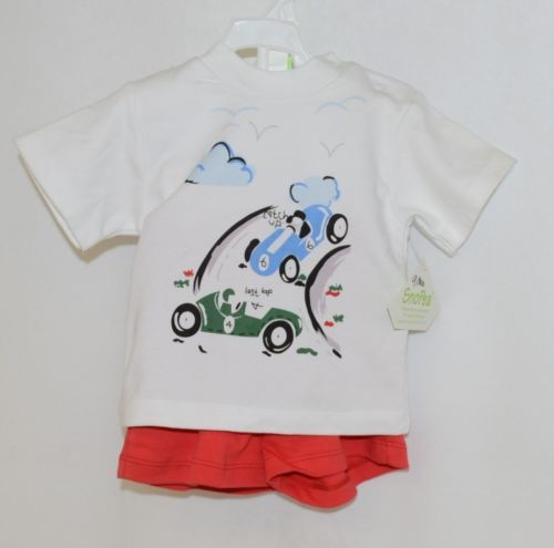 Snopea Two Piece Boys Short Set Race Cars Red Shorts White Shirt Size 9 Months