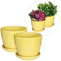 Yellow Ceramic Flower Planter Set Pots Plant Saucers Retro Patio Garden ... - ₨1,831.23 INR