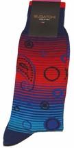 Bugatchi Men's Cotton Socks Ruby Striped  Italy Size 10-13 - $12.75