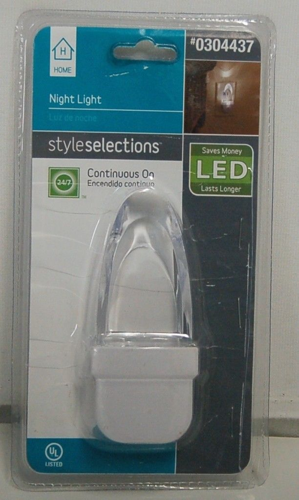 Style Selections 0304437 LED Night Light Continuous On White