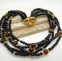 Vintage Black Orange Tortoise Lucite Bead Layered Choker Necklace AA10 - $16.99
