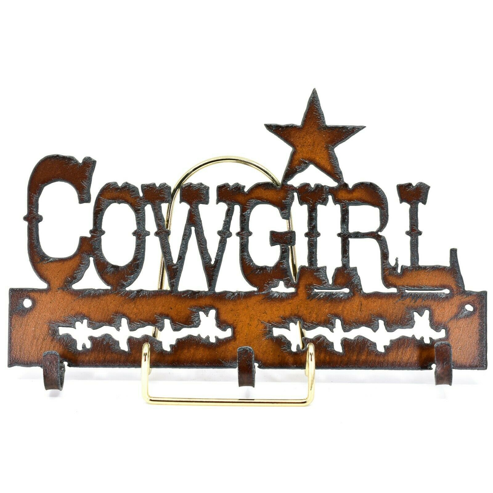 Country Western Rusted Patina Iron Metal Cutout Cowgirl 3 Hook Key Hanger Decor