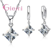 Top Quality   Silver Charm Geometric Jewelry Sets Pave Shining Crystal For Birth - $10.52