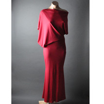 Red Evening Casual Womens Asymmetric Off Shoulder Boat Neck Long Maxi Dr... - $24.99