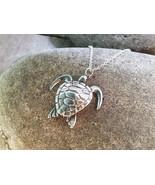 "Sea Turtle Pendant - Sterling Silver Pendant on 18"" Sterling Silver Chai... - $97.00"