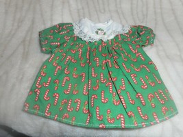 STIFF COTTON DRESS WITH CANDY CANES LACE COLLAR AND A BRIGHT PINK FLOWER - $4.99