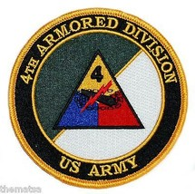 """ARMY 4TH ARMORED DIVISION  4"""" EMBROIDERED MILITARY  PATCH - $18.04"""