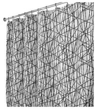 Shower Curtain, Abstract, Black/White Polyester, 72 x 72-In. - $23.75
