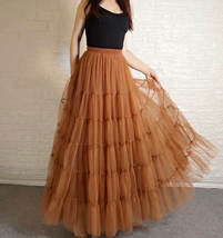 A Line Layered Tulle Skirt Full Long Layered Ruffle Tulle Skirt Brown image 4