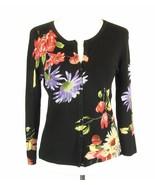 Elisabeth Size Petite S Floral Lightweight Button Down Sweater Cardigan - $12.99
