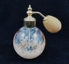 Perfume Atomizer Spray Bottle Clear Speckled Art Glass Gold Tone Refillable - $29.55
