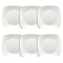 "Set of 6 Corelle Pure White Square Luncheon Plates 9""x9""  - $49.49"
