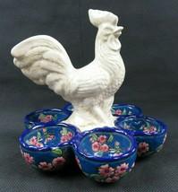 Rare Art Deco La Louvière rooster enamel décor craquelé serving dish egg... - $220.00