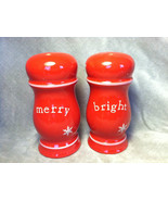 Christmas  Merry and Bright red salt and pepper shakers - $39.99