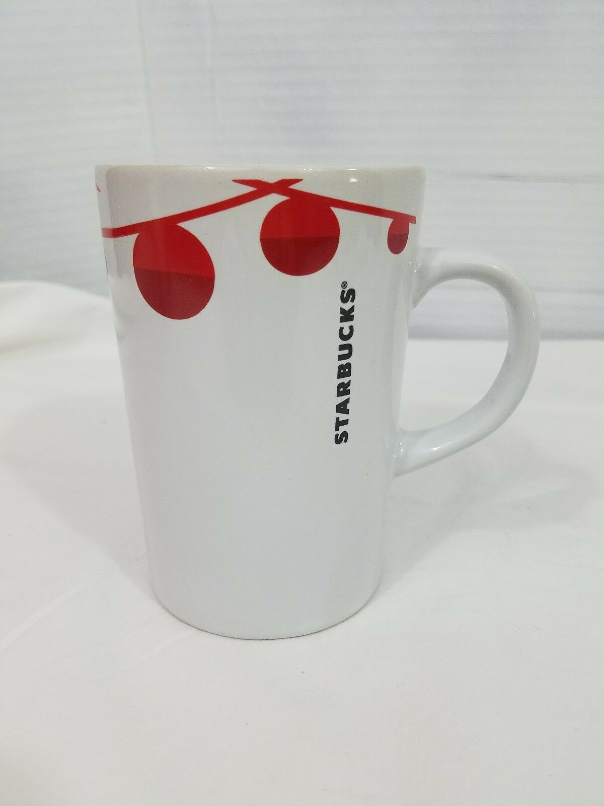 Primary image for Starbucks 2012 Christmas Holiday Coffee Cup Mug White w/Red Ornaments 10.8 fl oz