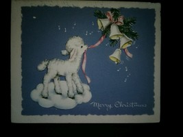 Baby Lamb Ribbons Bells Vintage Christmas Card - $3.00