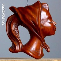Vintage 50's CORTENDORF Girl Lady Face Wall Mask German Pottery Fat Lava... - $21.77