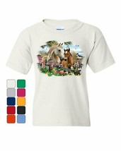 Cute Horses Foal Mare Youth T-Shirt Farm Countryside Nature Pony Rural K... - $9.76+