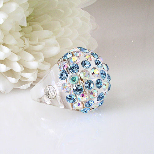 Clear Acrylic Domed Ring Numerous Blue & Rainbow Swarovski Elements Crystal Dome image 3