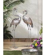 Standing Tall Galvanized Flamingo Statues Set of 2  - $74.95