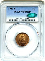 1910-S 1c PCGS/CAC MS65 RD - Tough S-Mint Gem - Lincoln Cent - Tough S-M... - $814.80