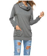 Casual Women's Cowl Neck Long Sleeve Pullover Sweatshirt with Pockets S-XL - $25.69