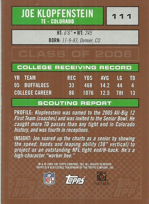 2006 Topps Draft Picks and Prospects #111 Joe Klopfenstein RC
