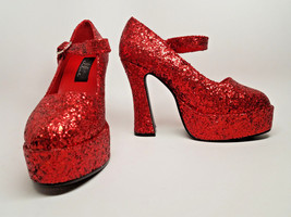 STORE CLOSING! -->RED GLITTER Size 9/10 Pumps Heels Dorothy Wizard of Oz... - $14.35