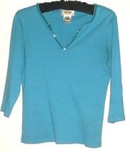 Women's Blue Spakle Neck Detail Top Size S Talbots - $8.00