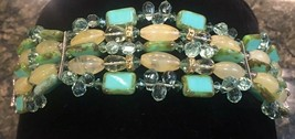 Vintage Five Row Turquoise Green & Yellow Glass and Crystal Bead Bracele... - $28.85