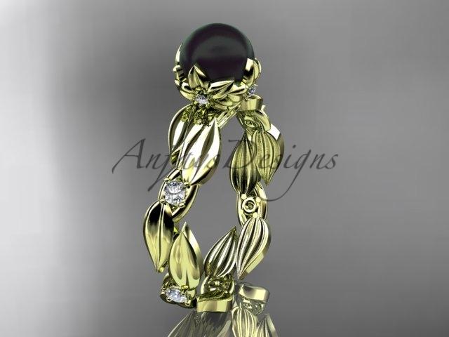 Abp58 yellow gold  tahitian black pearl   diamond wedding band  diamond engagement ring  1