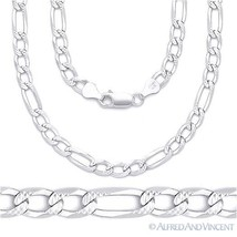 6mm Figaro Link Chain Diamond-Cut Pave Necklace Solid .925 Italy Sterling Silver - $53.40 - $76.57