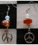 Handmade Gemstone Earrings OoaK Carnelian Moonstone Wood Tibetan Silver ... - $12.99