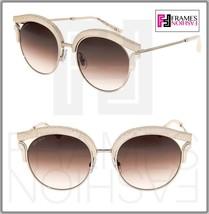 JIMMY CHOO LASH Silver Taupe Leather Glitter Stud Metal Cat Eye Sunglasses - $287.10