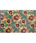 "Placemat Set 4 Autumn Sunflowers Fabric 12"" X 18"" New 100% Polyester - $16.78"