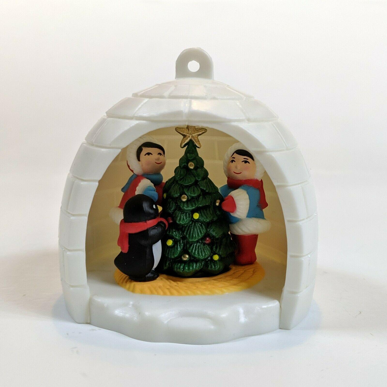 Vintage AVON Winter Fun Christmas Ornament Igloo Penguin Eskimo 1983