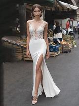 Backless Illusion Mermaid Wedding Dresses Lace Side Split image 8